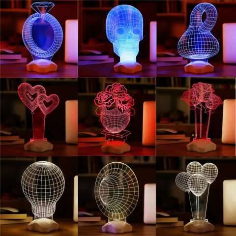 3D light desk lamp luminus