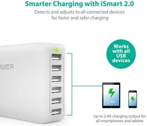 60W 12A 6-Port USB Charger